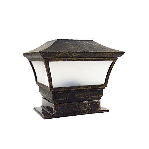Post Cap Lights, Metal and Glasses, Bronze, Wood Post Fence Post Cap Outdoor Garden Yard Deck Street Top Wall (3.5 x 3.5 Inches) ()