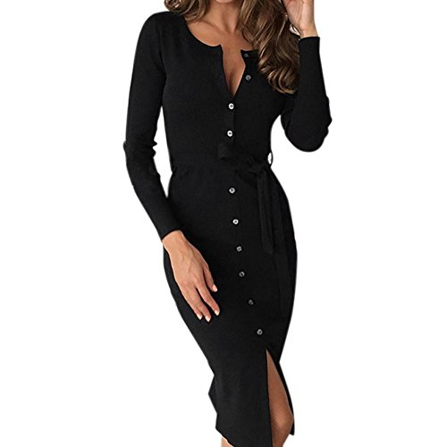 Chouette Robe Maxi Femme Blouse Tops Manches Longues Bouton Ajusté A-ligne Sexy Casual Noir