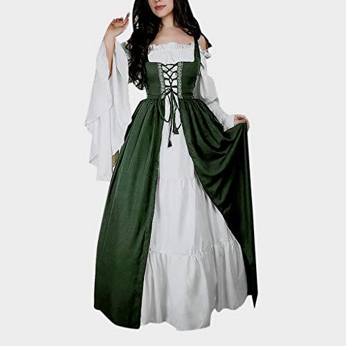 Renaissance Green Kostüm - Writtian Halloween Damen Mittelalter Kleid Trompetenärmel Gothic Retro Kleid Renaissance Cosplay Kostüm Prinzessin Kleid Maxikleid Abendkleid Gebunden Taille Maxikleid Weihnachts Karneval Party