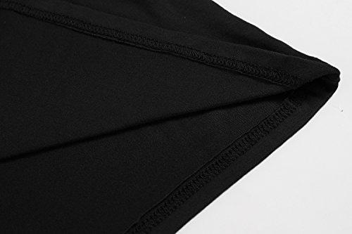 ZEARO Damen Pullover T-Shirt Bluse Sweatshirt Langarm Rollkragen Slim Fit Knopf Bluse Tops Schwarz
