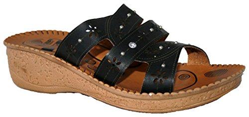 black 355 EU Gezer Pantofole da donna con punta aperta ciabatte tipo cda