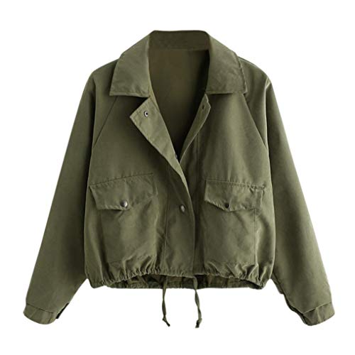 Jacke Damen Kolylong Frauen Elegant Reißverschluss Jacke Kurz Herbst Vintage Knöpfe Strickjacke Dünner Mantel mit Taschen Outwear...
