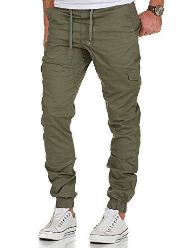 Amaci&Sons Herren Stretch Jogger Cargo Chino Jeans Hose 7007 Olive W30