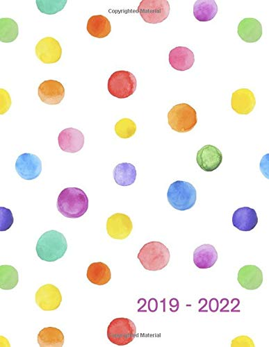 """2019 - 2022: Four - Year Monthly Planner: (Size : 8.5"""" x 11""""), 48 - Month Calendar Schedule Organizer and Hand Lettering Notebook (January 2019 - December 2022), Notes and Phone book, U.S. Holidays ( Polka Dots )"""