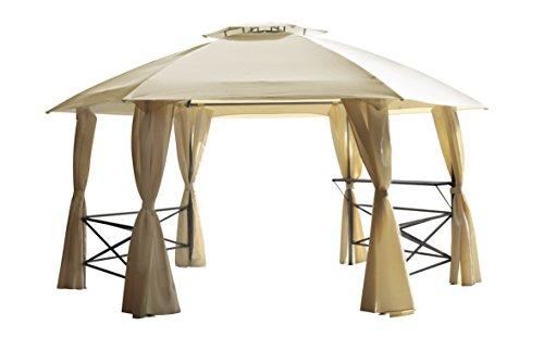 Pavillon LIMA 6-eckig, grosse Ausführung 480cm Durchmesser, wasserdicht, beige