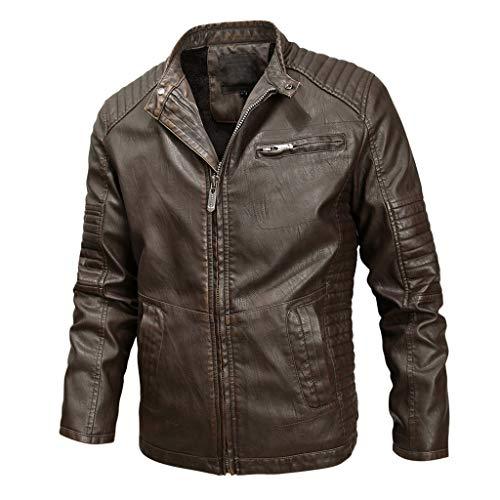 DNOQN Männer Jacke Winter Pullover Herren Jacken Online Winter Lederjacke Biker Motorrad Reißverschluss Langarm Mantel Top Blusen Braun XXXXL
