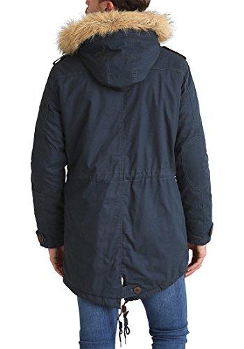 SOLID Clark Teddy Herren Parka lange Winterjacke aus 100% Baumwolle mit Kapuze und Kunstfellkragen Insignia Blue (1991)