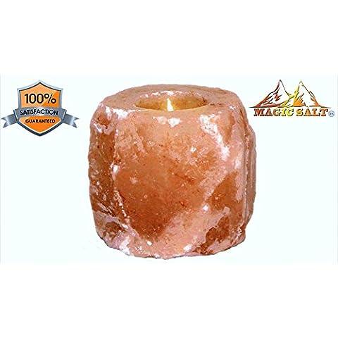 Rosa del Himalaya Sal cristaloterapia ionizante Vela soporte, PINK TO ORANGE, 1 candle holder