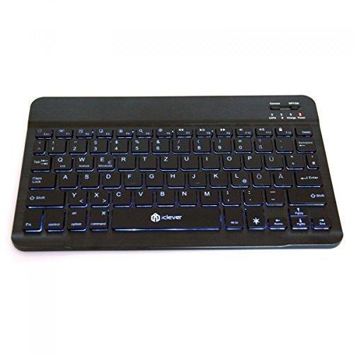 iClever IC-BK04 Ultra Slim Wireless Bluetooth QWERTZ Tastatur, 7 Farben beleuchtet, mit eingebautem wiederaufladbarem Li-Polymer Akku für iOS, Android, Windows Smartphones / Tablets