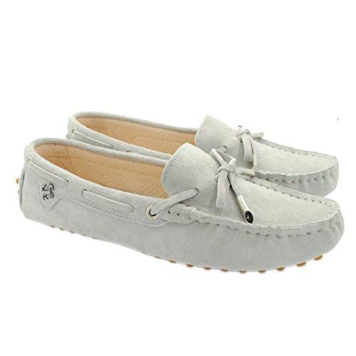 Minitoo Womens Casual confortevole in pelle scamosciata nodo barca Loafer Scarpe Flats Baby Gray