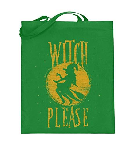 Shirtee Witch Please - Hexe Bitte - Hexen Halloween Kostüm 31. Oktober Geisterstunde Horror Nacht - Jutebeutel (mit langen Henkeln) -38cm-42cm-Helles Grün