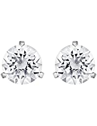 Swarovski Solitaire Pierced Earrings, White, Rhodium plating