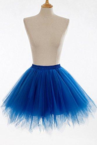 Babyonline Damen Tüllrock Prinzessin Kleider Kurz Petticoat Ballettrock Mini Unterrock Pettiskirt Kurz One Size - XL Royal Blau