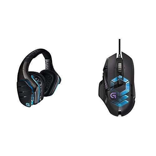 LogitechG933 ArtemisSpectrum Kabelloses 2,4GHz Gaming-Headset (mit 7.1SurroundSoundPro, geeignet für PC, XboxOne und PS4) schwarz & LogitechG502 ProteusSpectrum Gaming-Maus schwarz -