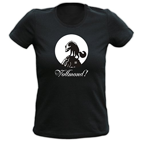 T-Shirt Damen Frauen Girlie schwarz Größen S- XL Funshirt mit lustigem Motiv Wolf und Mond: Vollmond? Geschenkidee Schwarz