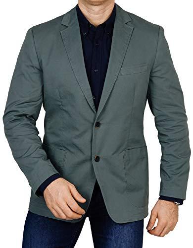 bonprix Herren Sakko untersetzt Comfort Fit Baumwoll Übergröße Blazer Zweiknopf Jackett Anzug Langgröße bequem Spezialgröße, Größe 50, Khaki