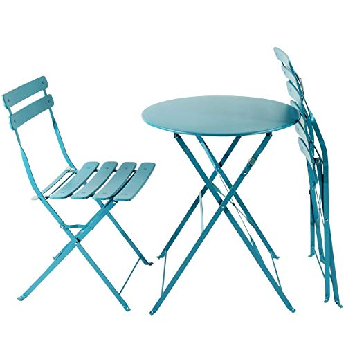 AFP Bistroset 3-teilig türkis-blau - Metallmöbel-Set Tisch rund + 2 Stühle klappbar, Balkonset, kleine Gartenmöbel Garnitur Balkonmöbel stabile Ausführung, farbig -