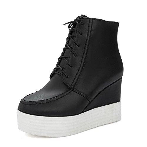 Allhqfashion Niedrig Absatz Weiches Hoher Rein spitze Damen Schnüren Schwarz Material Stiefel rqxwXATrp