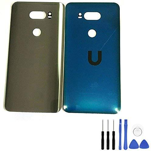 l Akku für LG V30-Rückseite Silber Glas Gehäuse Tür Cover Rückseite Fall Ersatzteile für LG V30vs996mit Öffnung Werkzeug (Fit für Verizon) ()