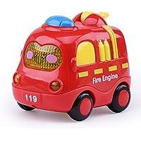 Ouken 1pc Lindo Juguete del bebé del Coche de Dibujos Animados Sonido y música Ligera inercia pequeño Coche de Juguete (camión de Bomberos)
