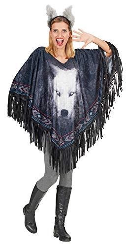 Sexy Werwolf Kostüm - Andrea-Moden Wolf Kostüm Poncho mit Ohren