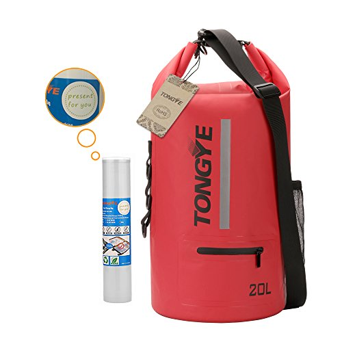 TONGYE Fashion Dry Bag Waterproof Roll Top Sack with Free Travel Storage Bags for Boating Kayaking Hiking Beach Diving Swimming and Other Outdoor Water Sports (20L)