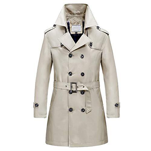 TWBB Herren Mantel Winter Windjacke Zweireiher Pullover Lange Tailcoat Jacket Mit Gürtel Outwear Knöpfe Coat Einfarbig Lange Ärmel Hemd