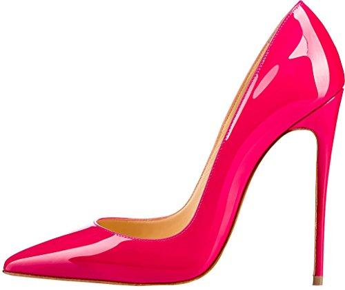 07aab34da5e37e ELEHOT Femme 12cm Taille EU 34-46 Elenow Aiguille 12CM Synthétique  Escarpins rouge 12cm ...