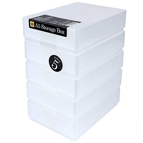 WestonBoxes Aufbewahrungsbox aus Kunststoff für 500 Blatt, DIN A5, 216x154x66mm (Transparent, 5 Stück)
