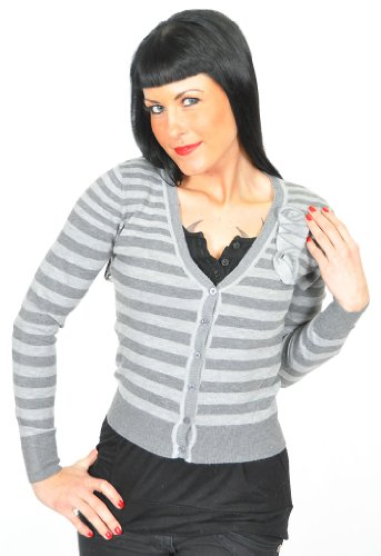 STRIPED Streifen Matrosen V-Neck CARDIGAN / Strickjacke Rockabilly Grau