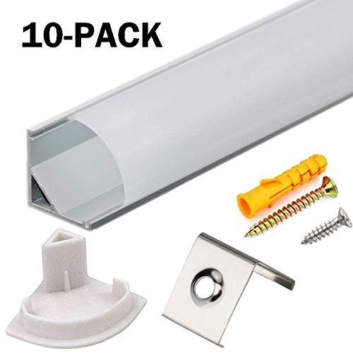 LED Aluminium Profil V 45° 10x1m, LED-Kanäle und Diffusoren mit Endkappen und Befestigungsclipsen für flexible LED-Lichtleisten von StarlandLed - Led-aluminium-montage-kanal