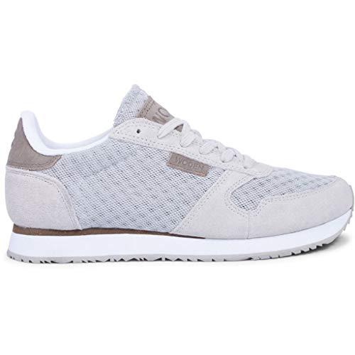 Woden Damen Ydun Suede Mesh Sneaker, grün, Grau, 40 EU - Grau Grün Sneakers Und