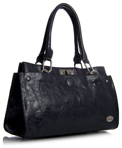 Big Handbag Shop lo donna spalla borsa in ecopelle Nero (nero)