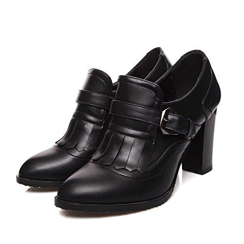 AllhqFashion Femme Boucle Pu Cuir Pointu à Talon Haut Houppe Chaussures Légeres Noir