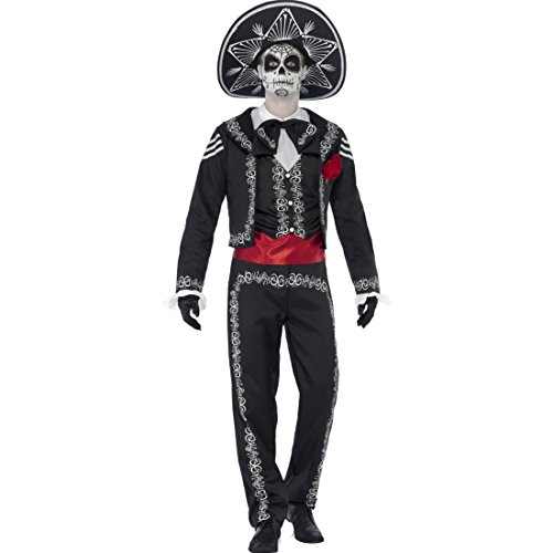 Tag der Toten Herrenkostüm Dia de los Muertos Kostüm L 52/54 Mexikaner Kostüm La Catrina Totenfest Halloweenkostüm Mariachi Männerkostüm Sugar Skull Outfit ()