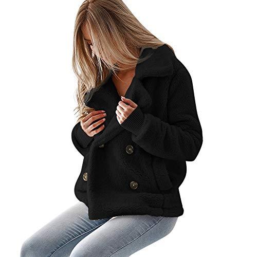 i-uend 2019 Damen Mantel, Casual Mantel Faux Für Revers Lange Ärmel Outwear Vordere Leistentaschen Zweireihig ()
