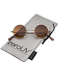 70da7d3ad4 zeroUV - Small Retro Lennon Inspired Style Neutral-Colored Lens Round Metal  Sunglasses 41mm