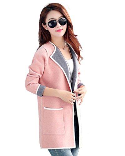 WSLCN Damen elegant Wolle Strickjacke Übergangsjacke Rosa DE L (Asiatisch 3XL) (Strickjacke Winter Wolle)