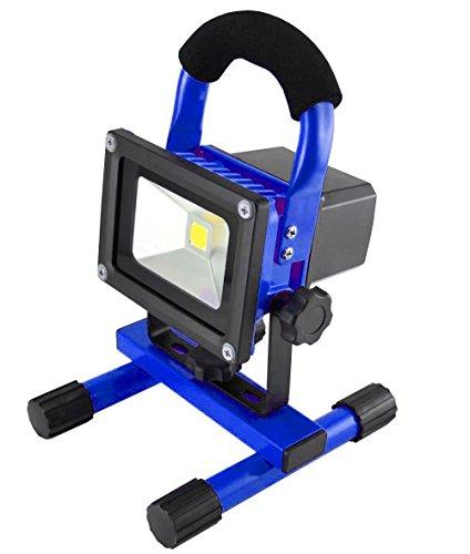MCTECH® 10W Kaltweiß Blau Tragbare Wiederaufladbare Handlampe LED AKKU Flutlicht-Lampe Camping Lampe Arbeitsscheinwerfer Angeln Beleuchtung Outdoor Laterne Campinglaterne Werkstatt-Flutlicht IP65 (10W Kaltweiß)