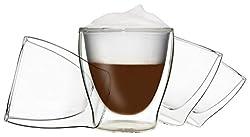 DUOS 4X 200ml doppelwandige Gläser, Teegläser, Kaffeegläser, Thermogläser - Set mit Schwebe-Effekt, auch für Wasser, Whiskey, Cola, Säfte, Desserts, EIS UVM. geeignet, by Feelino ...