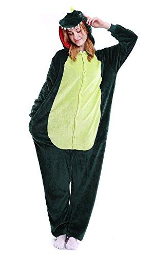 suit Onesie Tier Fasching Karneval Halloween kostüm Erwachsene Unisex Cosplay Schlafanzug- Größe L-für Höhe 164-174CM, Dinosaurier ()