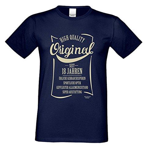 Niveuvolles Designer Sprüche-Shirt als Top Geschenke-Idee für alle Menschen mit Stil Motiv: Original seit 18 Jahren Farbe: navy-blau Navy-Blau