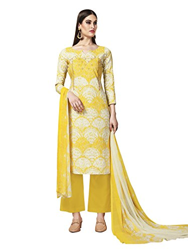Kanchnar Off White Color Women's Cambric Cotton Embroidery Work Unstiched Dress Material-739D1001