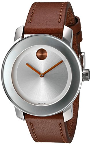 Movado Women's Swiss Quartz Stainless Steel and Leather Automatic Watch, Color:Brown (Model: 3600379)