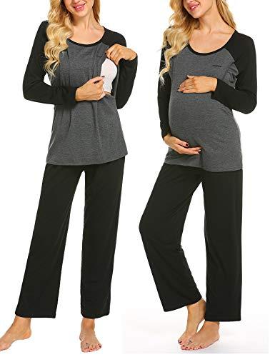 MAXMODA Damen Lange Stillpyjama Stillschlafanzug Umstandspyjama für Schwangere Umstandsmode Schwarz XL