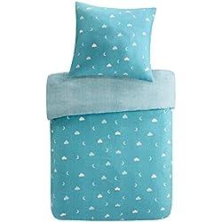 SCM Kinder Bettwäsche 135x200cm Eule 100% Baumwolle Renforcé 2-teilig Bettbezug Kopfkissenbezug 80x80cm Blau Bunte Blumen Junge Mädchen Jugendliche Teenager Owl