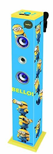 DESPICABLE ME Minions, GRU - Torre de Sonido con Altavoces Luminosos con Bluetooth, micrófono, Mando a Distancia, Ideal para Karaoke (Lexibook K8050DES)