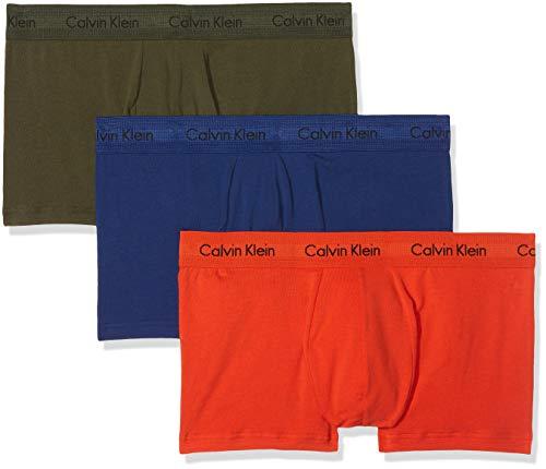 Calvin Klein Herren Cotton Stretch 3-Pack Trunk_0000U2664G Boxershorts, Grün (Forest Dark Night/S Orange Xwn), Small (Herstellergröße: S) (erPack 3