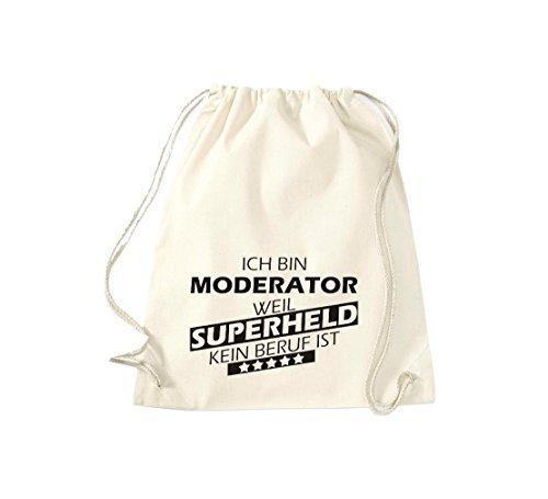 Shirtstown Borse palestra Ich bin Moderatore, weil Super eroe niente Occupazione è - Viola, 37 cm x 46 cm naturale