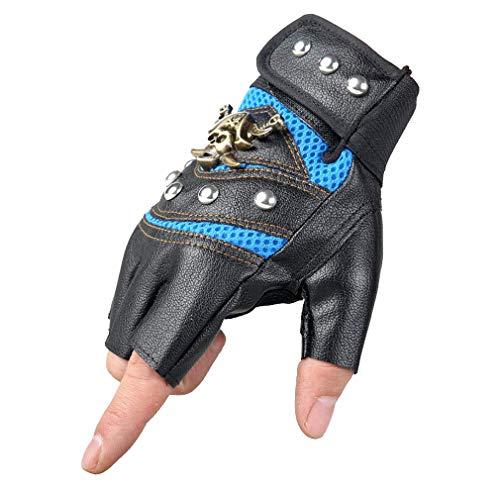 Mode Schädel Fingerlose Handschuhe Kunstleder Motorrad Radfahren Halbfingerhandschuhe Verzierte Metall Schädel Gothic Punk Stil für Männer oder - Metall Schädel Biker Kostüm